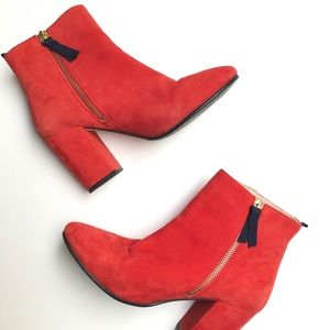 Boden Etta Ankle Boots Red Suede Size 36